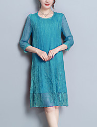 baratos -Mulheres Sofisticado Moda de Rua Solto Vestido - Bordado, Floral Altura dos Joelhos