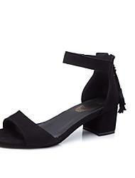 Dame Sko PU Sommer Komfort Sandaler Kraftige Hæle for udendørs Sort Grøn