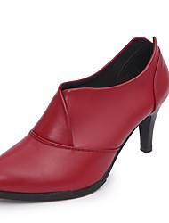 preiswerte -Damen Schuhe PU Herbst Komfort Modische Stiefel Stiefel Stöckelabsatz Spitze Zehe Mittelhohe Stiefel Reißverschluss Für Normal Schwarz Rot