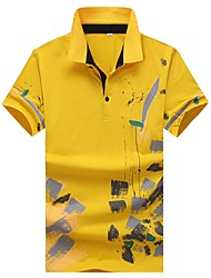 cheap -Men's Work Simple Cotton Slim Polo - Floral Geometric Letter, Print Shirt Collar