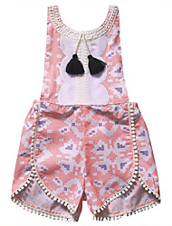 cheap -Girls' Going out Holiday Jacquard Blouse, Modal Spring Summer Sleeveless Cute Active Green White Blushing Pink