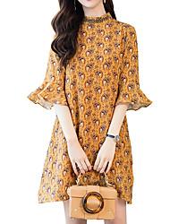 abordables -Femme Vacances Bohème Manches Evasées Ample Ample Robe - Imprimé, Fleur Mao Au dessus du genou