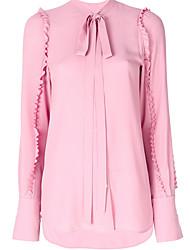preiswerte -Damen Solide-Geschäftlich Hemd,Hemdkragen Schlank