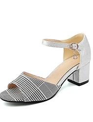 preiswerte -Damen Schuhe Kunstleder Frühling Sommer Komfort Sandalen Blockabsatz Offene Spitze für Normal Draussen Silber Blau Rosa