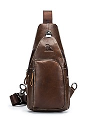 cheap -Men's Bags Cowhide Sling Shoulder Bag Zipper Brown