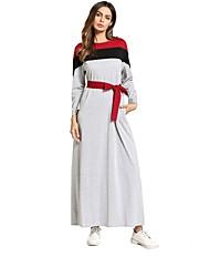 cheap -Women's Basic Boho Loose Dress - Striped Floral Maxi