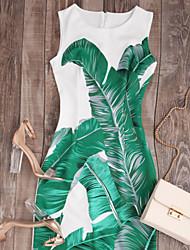 baratos -Mulheres Básico Tubinho Vestido Floral Altura dos Joelhos Acima do Joelho Branco