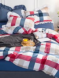 economico -Azzurro chiaro Griglia / Patterns Plaid 1 pezzo Misto cotone 100% cotone Stampa Misto cotone 100% cotone Lenzuolo (1 pz.)