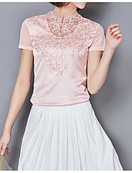 preiswerte -Damen Solide Baumwolle T-shirt, V-Ausschnitt Spitze Gitter