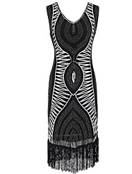 cheap -The Great Gatsby Vintage The Great Gatsby Costume Women's Dress Black Golden Red Vintage Cosplay Polyester Sleeveless