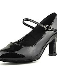 Недорогие -Жен. Обувь для модерна Искусственная кожа / Дерматин На каблуках Пряжки Кубинский каблук Персонализируемая Танцевальная обувь Черный