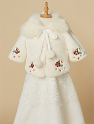 cheap -Half Sleeve Faux Fur Wedding / Party / Evening Kids' Wraps With Embroidery / Lace-up / Pom-pom Shrugs