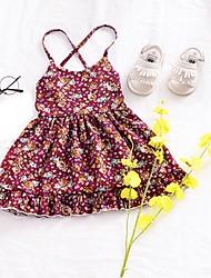 abordables -Robe Fille de Quotidien Sortie Fleur Coton Eté Sans Manches simple Rouge