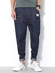 economico -pantaloni jeans micro-elasticizzati normali da uomo di media altezza, semplici solidi rayon primavera / autunno