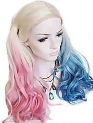 Недорогие -Синтетические кружевные передние парики Естественные кудри Розовый С конским хвостом Искусственные волосы Прямой пробор Синий / Розовый / Серый Парик Жен. Длинные Лента спереди