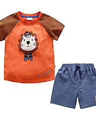 cheap -Boys' Sports Striped Print Clothing Set, Polyester Spring Summer Short Sleeves Street chic Green Orange