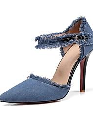abordables -Femme Chaussures Toile de jean Printemps Eté D'Orsay & Deux Pièces Nouveauté Chaussures à Talons Talon Aiguille Bout pointu Boucle Gland