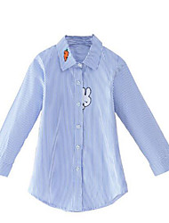 cheap -Girls' Daily Striped Shirt, Cotton Rayon Spring Fall Long Sleeves Simple Casual Blue