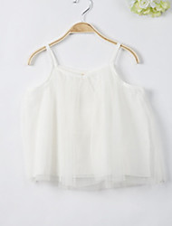 cheap -Girls' Daily Solid Blouse, Polyester Summer Sleeveless Simple White