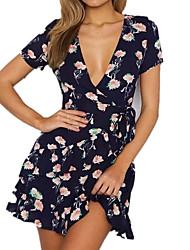 cheap -Women's Casual Oversized A Line Dress - Floral, Basic High Waist V Neck
