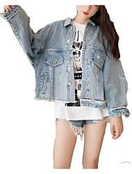 baratos -Mulheres Jaqueta jeans Casual - Sólido Oversized