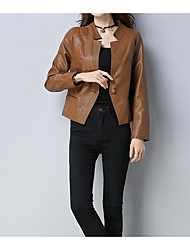 cheap -Women's Vintage Leather Jacket-Solid Colored,Pleated