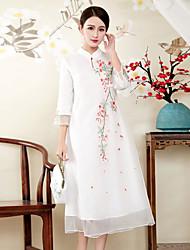 Недорогие -Жен. Изысканный Шинуазери (китайский стиль) Свободный силуэт Платье - Цветочный принт, Вышивка Воротник-стойка Средней длины