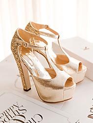 abordables -Mujer Zapatos Brillantina / PU Primavera / Otoño Confort / Innovador Sandalias Tacón Cuadrado Punta abierta Hebilla Dorado / Plata