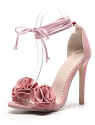 preiswerte -Damen Schuhe Beflockung Frühling Sommer Pumps Sandalen Stöckelabsatz Offene Spitze für Büro & Karriere Party & Festivität Schwarz Gelb