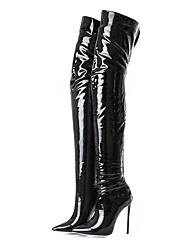 baratos -Mulheres Sapatos Couro Envernizado Outono Inverno Botas da Moda Botas Salto Agulha Dedo Apontado Carregadores coxa-alta para Casamento