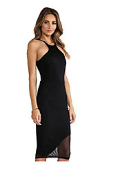 cheap -Women's Sophisticated Street chic Bodycon Dress - Solid Colored, Mesh Halter