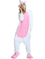 cheap -Monster Flying Horse Unicorn Onesie Pajamas Costume Flannel Fabric White Cosplay For Adults' Animal Sleepwear Cartoon Halloween Festival