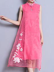 baratos -Mulheres Feriado Temática Asiática Algodão Reto Vestido - Bordado, Sólido Colarinho Chinês Médio