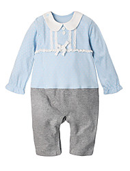 cheap -Baby Girls' Daily Holiday Solid Colored One-Pieces, Cotton Spring Summer Simple Long Sleeves Blushing Pink Light Blue