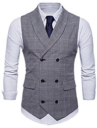 cheap -Men's Plus Size Vest-Houndstooth / Sleeveless