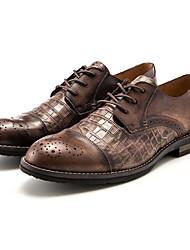 Homens sapatos Pele Pele Napa Primavera Outono Conforto Oxfords para Casual Preto Café
