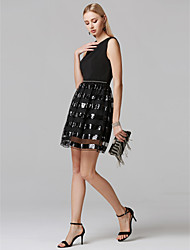 cheap -Sheath / Column Jewel Neck Short / Mini Sequined / Jersey Little Black Dress Cocktail Party Dress with Beading by TS Couture®