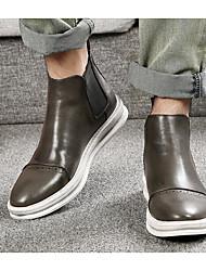 baratos -Homens sapatos Pele Outono Inverno Coturnos Conforto Botas Botas Curtas / Ankle para Casual Preto Cinzento Castanho Escuro