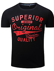 cheap -Men's Sports Cotton T-shirt - Solid Letter Round Neck