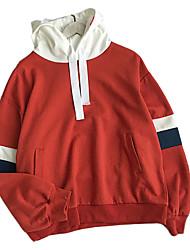 povoljno -muške dugih rukava od pamučnih labavih kapuljača - boja s kapuljačom u boji