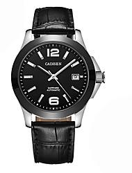 baratos -CADISEN Homens Automático - da corda automáticamente Relógio de Moda Relógio Casual Japanês Calendário Impermeável Relógio Casual Couro