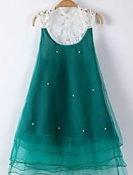 abordables -Robe Fille de Quotidien Sortie Couleur Pleine Polyester Printemps Eté Sans Manches Mignon Vert Rose Claire