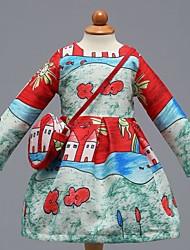 economico -Vestito Ragazza Quotidiano Scuola Cotone Fantasia floreale Monocolore Primavera Estate Manica lunga Romantico Casual Rosso