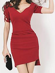 abordables -Femme Manche Papillon Coton Mince Moulante Robe - Ruché, Couleur Pleine Taille haute Col en V Au dessus du genou Rouge
