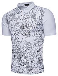 baratos -Homens Polo Floral Algodão Colarinho de Camisa