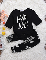 cheap -Baby Unisex Daily Print Clothing Set, Cotton Spring Summer Simple Casual Long Sleeves Black