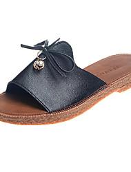 Mujer Zapatos Cuero Nobuck Verano Confort Zapatillas y flip-flops Tacón Plano Dedo redondo Pajarita Negro / Beige / Amarillo 25jmStPjbK