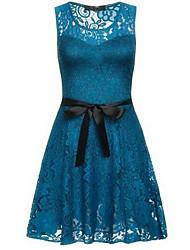 cheap -Women's Basic Slim A Line Dress - Solid Colored Blue, Lace
