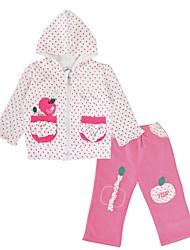 cheap -Girls' Daily Holiday Polka Dot Clothing Set, Cotton Spring Fall Long Sleeves Active Blushing Pink
