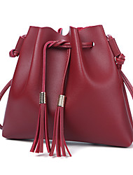 cheap -Women's Bags PU Shoulder Bag Tassel for Casual Office & Career All Seasons Black Blushing Pink Brown Dark Grey Wine